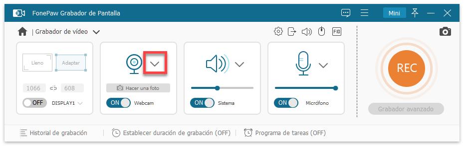 Activar y establecer Webcam en FonePaw