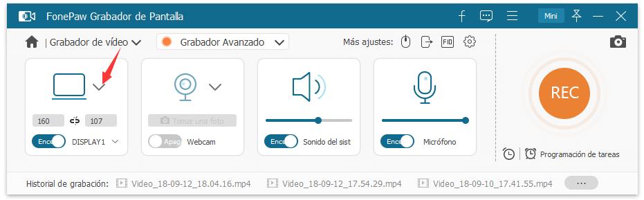 ajustar la pantalla de grabación