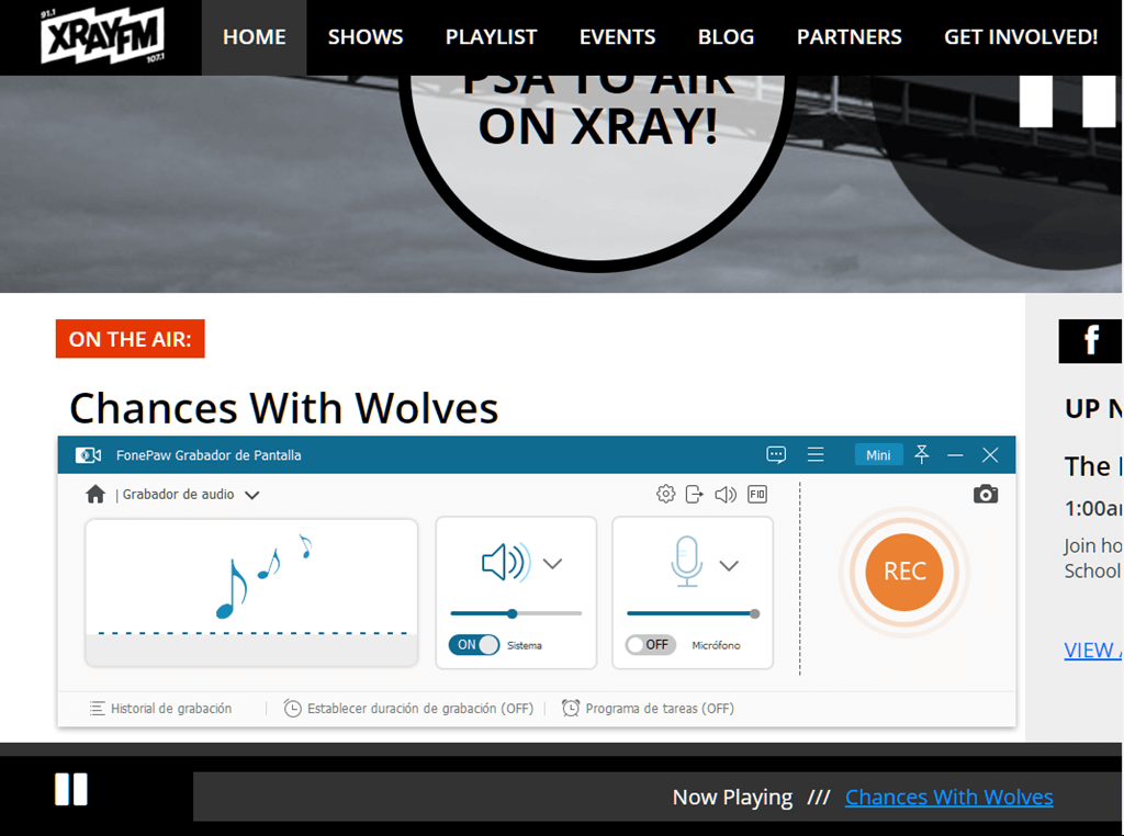 Grabar la radio online Xray