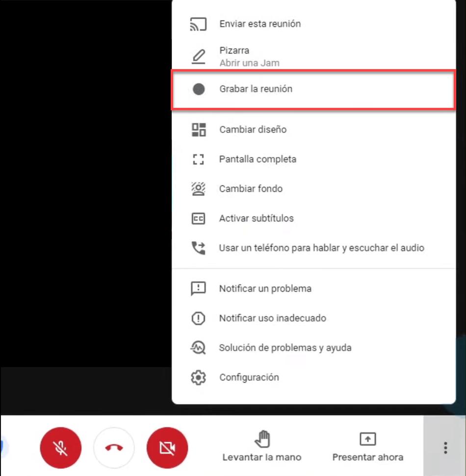 Grabar la reunión en Google Workspace