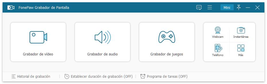Interfaz de FonePaw Grabador de Pantalla
