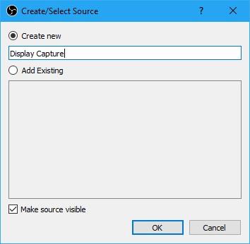 Crear nueva captura de pantalla en OBS