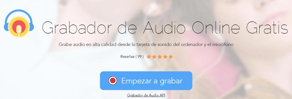 Interfaz de Apowersoft grabador de audio online