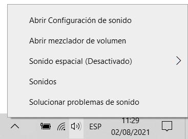Abrir el panel de sonido en Windows