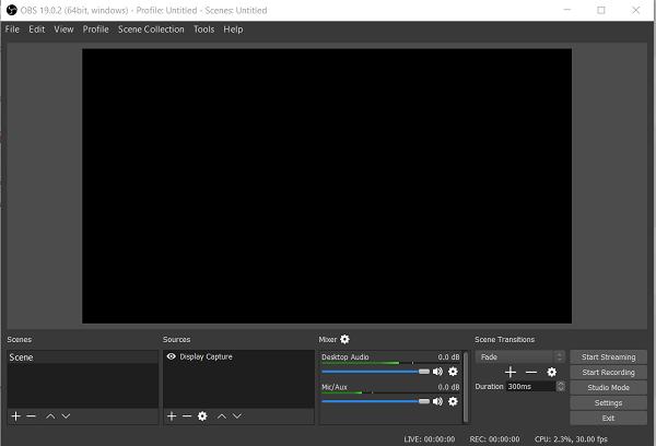 pantalla negra de OBS Studio