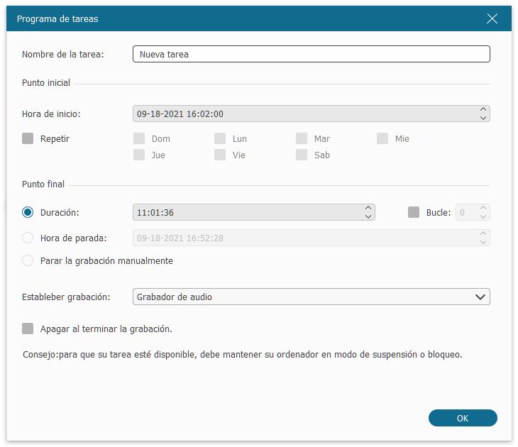 Programar tareas de grabación de FonePaw