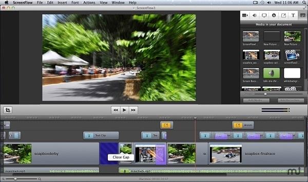 Interfaz de ScreenFlow