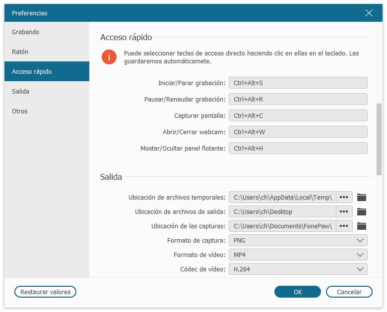 Configurar teclas rápidas