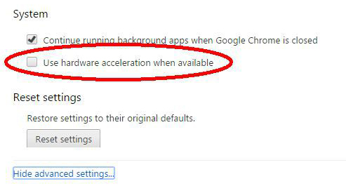 Uncheck 'Use hardware accceleration when available'