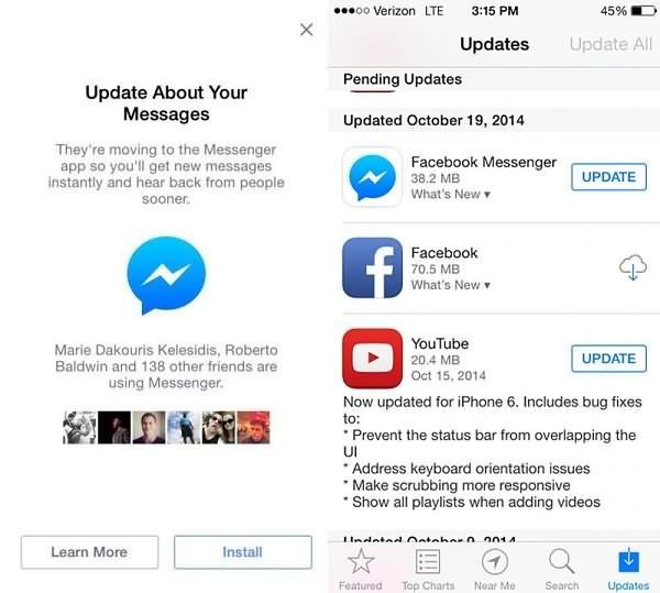 Messenger Update on iPhone
