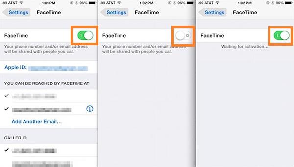 FaceTime Turn on
