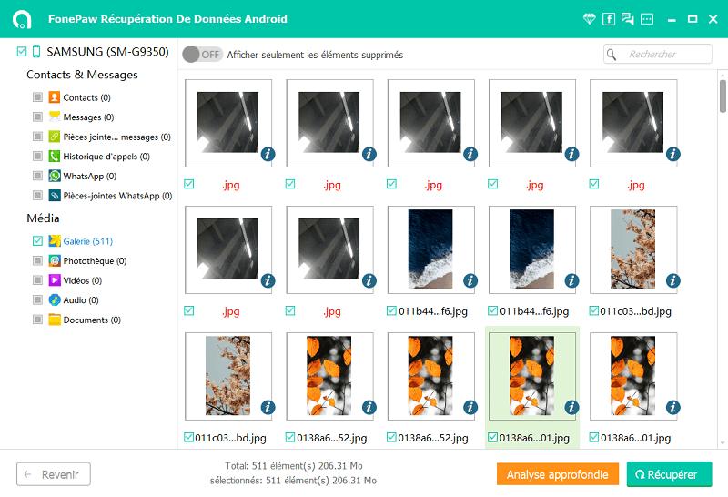 récupérer les captures d'écran Android