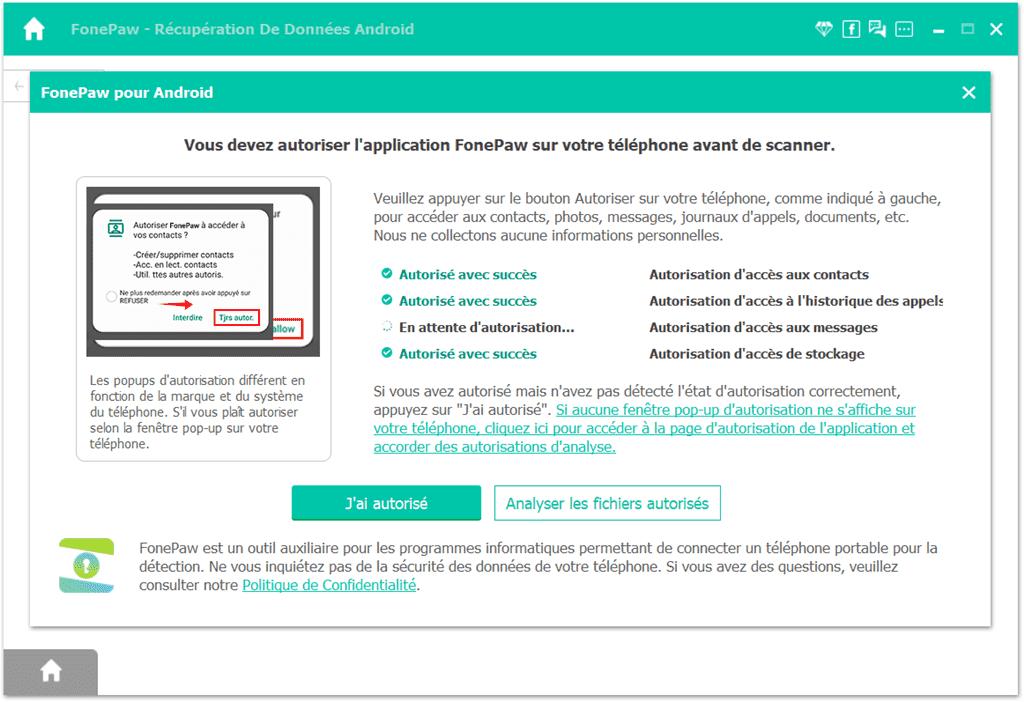 Récupération De Données Android - autoriser le scan