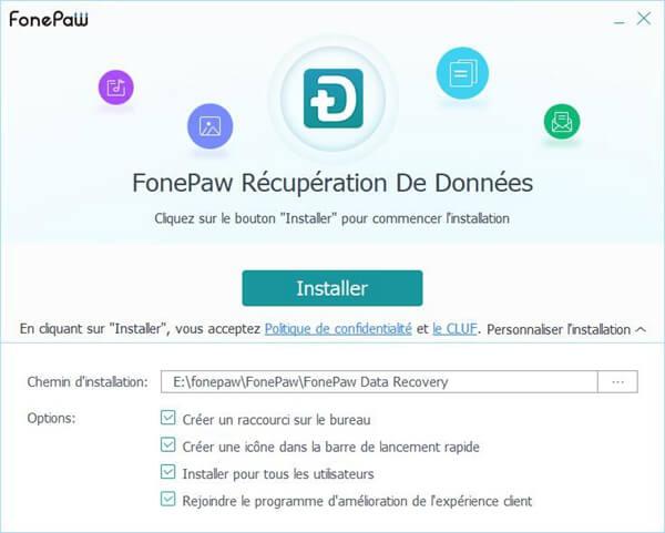 installer FonePaw Récupération De Données