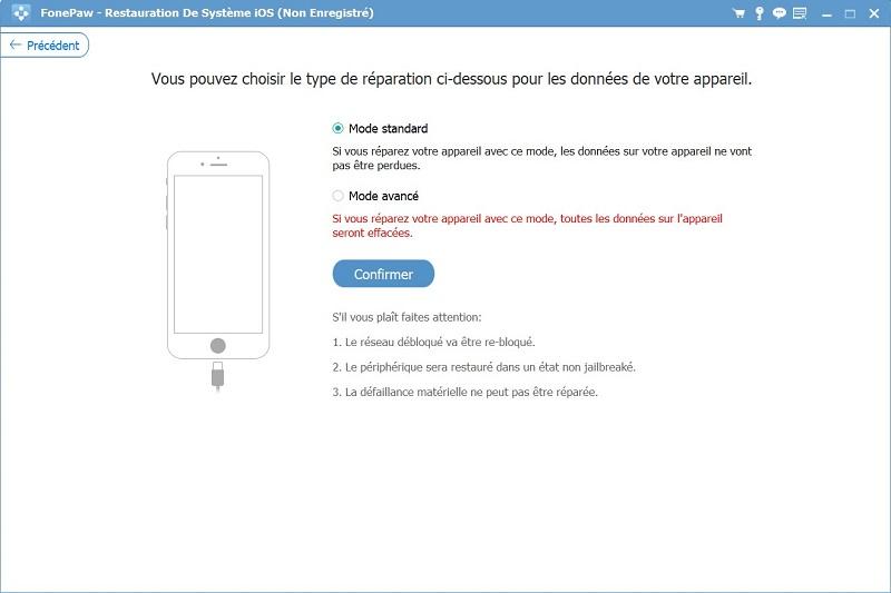 Restauration De Système iOS - Mode Avancé