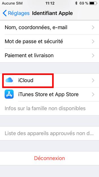 paramètres iCloud