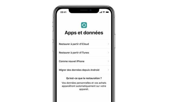 écran « Apps et données » sur iPhone/iPad