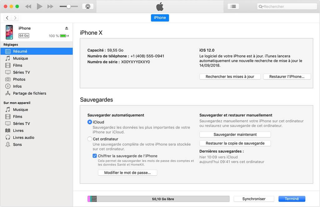 Récupérer ou sauvegarder les messages disparus à partir d'iTunes