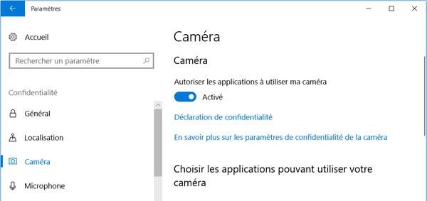 Autoriser les applications à utiliser ma caméra sur Windows