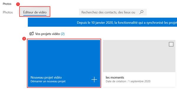 Cliquer sur le bouton « Nouveau projet vidéo »