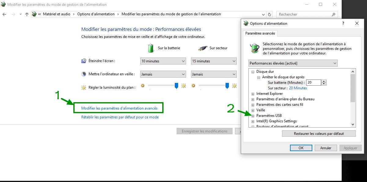 modifier les paramètres de la suspension sélective USB. sous windows