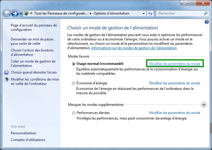 Modifier les paramètres du mode sous windows