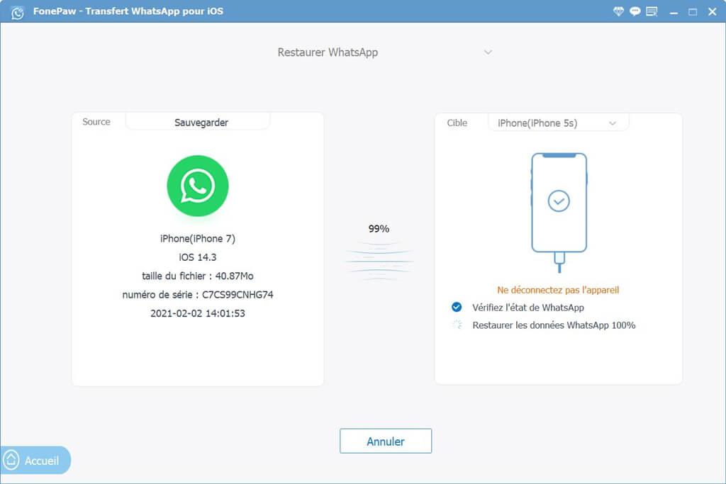 restaurer whatsapp vers iphone