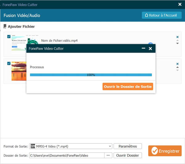 Fusionner les fichiers audio et la vidéo