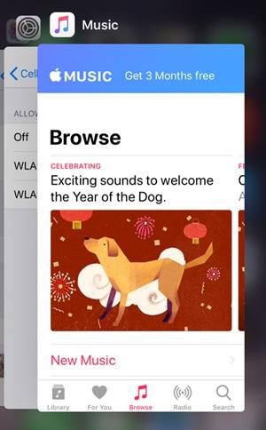 Apple Music on Recently-used List