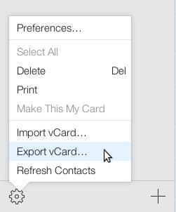 Choose Export vCard