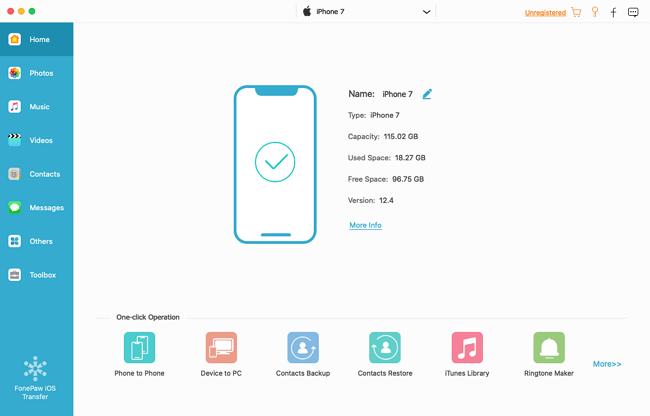 Run FonePaw iOS Transfer Program