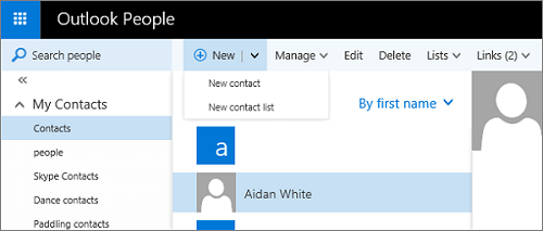 Outlook New Contact List