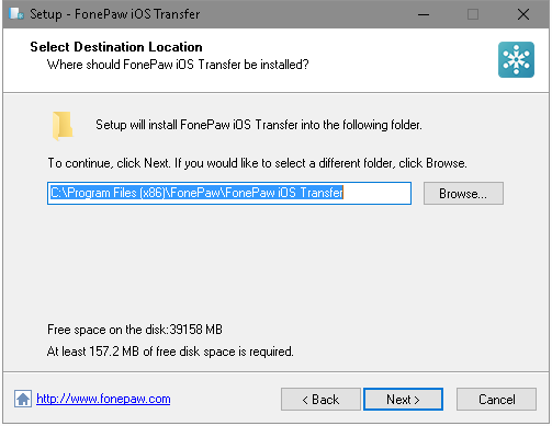 Select Destination Location on Computer
