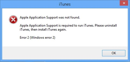 Apple Application Support Was Not Found on iTunes