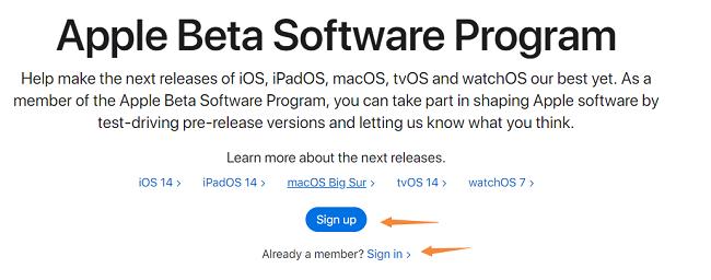 Sign in Apple Beta Software Program