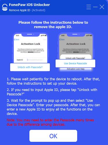 Remove Apple ID Finish