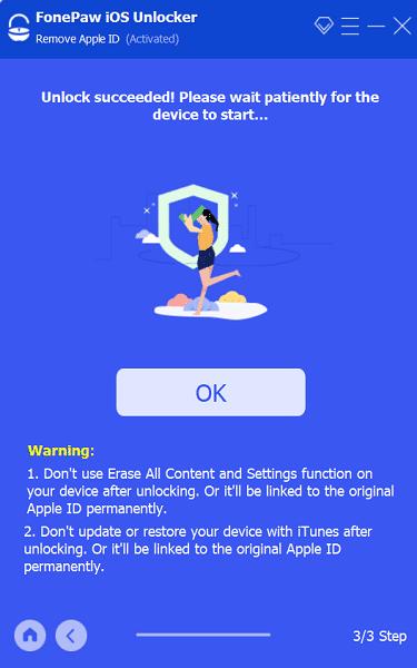 Remove Apple ID Done