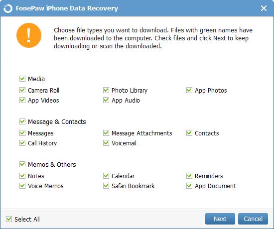 Choose File Types of iCloud Backup