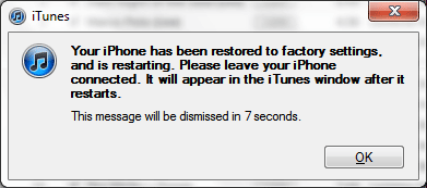 iPhone Restored to Factory Settings Completed