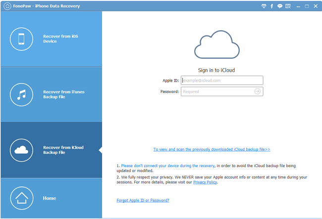 Recovery Mode of iCloud Backup