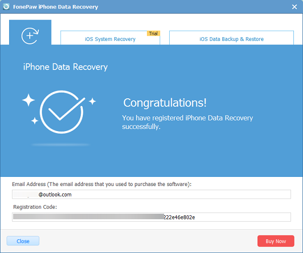 Register iPhone Data Recovery