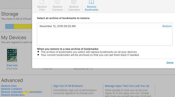 Recover Safari History on iCloud
