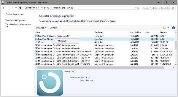 Uninstall FonePaw iPhone Data Recovery