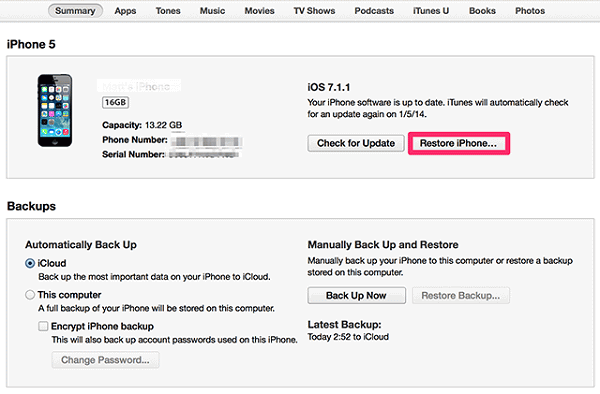 iTunes Factory Reset