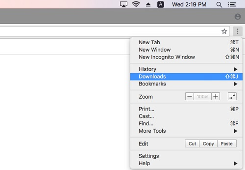 Clear Google Chrome Downloads on Mac