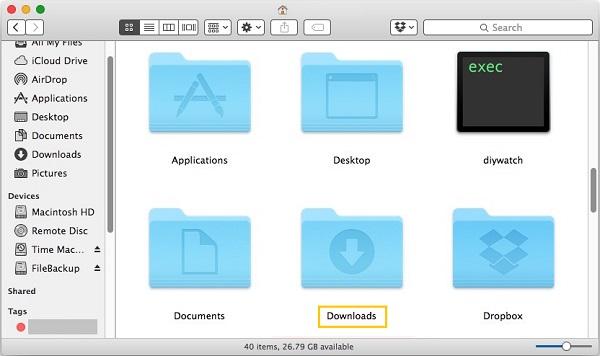Downloaded Folder on Mac