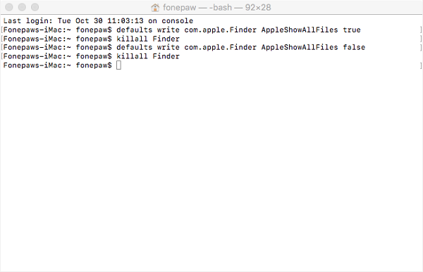 Show Hidden Files with Terminal on Mac