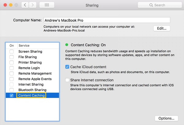 Turn off iCloud Content Caching