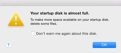 Your Startup Disk Is Almost Full