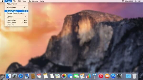 Empty Trash on Mac to Reduce System Storage